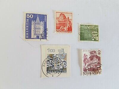 Helvetia Stamp Posted Postmarked Lot  50 20 100 40