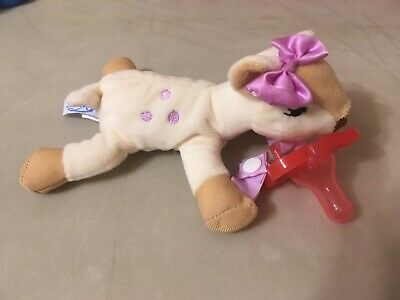 """Dr. Brown's Plush Lovey Pacifier Holder Clip 6"""" Baby Girls With Pacifier"""