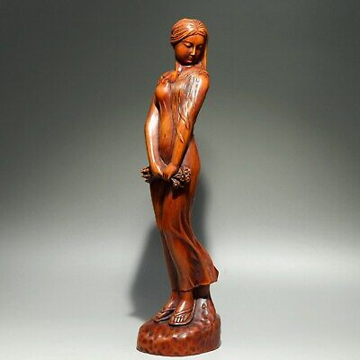 Collect China Old Boxwood Hand-Carved Elegant Classical Belle Delicate Statue