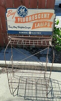 VINTAGE Antique GE General Electric Store Rack Display Fluorescent Lamps Bulbs