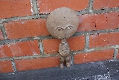 Vintage Carved Wooden Figure Tribal Fertility Ornament Hand Carved Wood Round