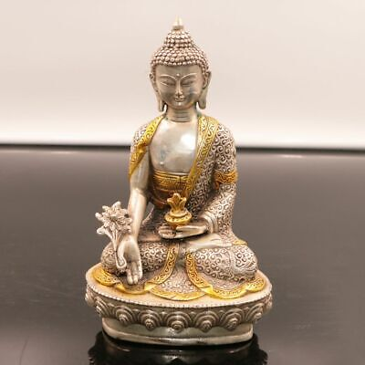 Chinese Exquisite hand-made White Copper Gilding Medicine Buddha statue