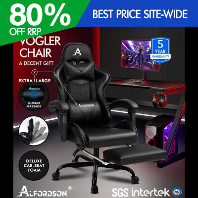 ALFORDSON Gaming Chair Office Executive Racing Footrest Seat Leather All Black