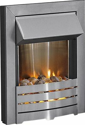 Electric Fire Pebbles Fireplace Silver Inset Electric Fire Brushed Steel Modern