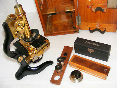 ANTIQUE  E. LEITZ  MICROSCOPE WITH MECHANICAL STAGE No.190267, c.1920