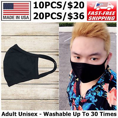 10 Pack High Quality Reusable Cotton Face Mask Adult Unisex, Made In USA, Black