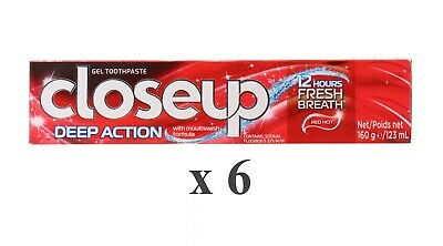 6 x CLOSE UP 160g TOOTHPASTE DEEP ACTION RED HOT - NEW