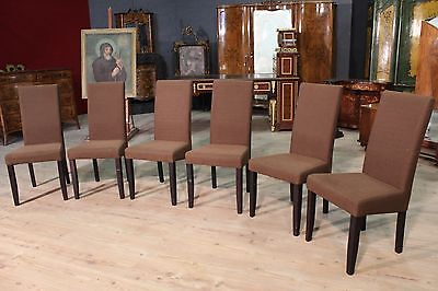 Group Of Six Chairs Wooden Armchairs Furniture IN Fabric Reproduction Modern