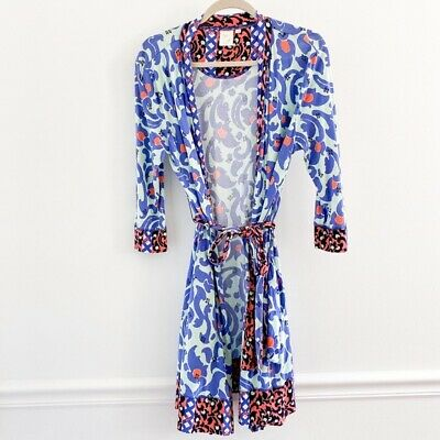 Anthropologie Extra Small XS/S E by Eloise Peach Blossom Paisley Robe Blue Modal