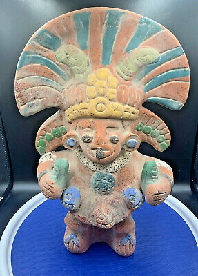"Mayan Mexico Figurine Effigy Clay Figure Inca Aztec Mexican Statue 12"" Tall"