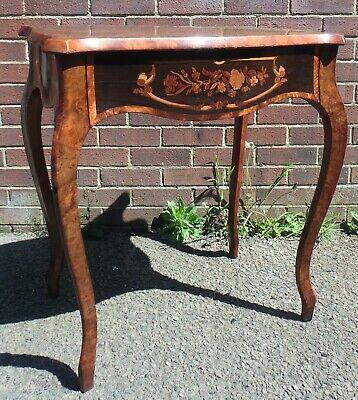 Victorian antique burr walnut floral marquetry 1 drawer console hall side table