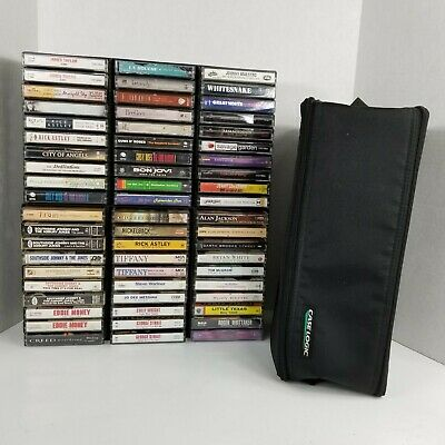 Lot Of 60 Cassette Tapes 80s 90s Pop Country Rock + More Case Logic Storage Case