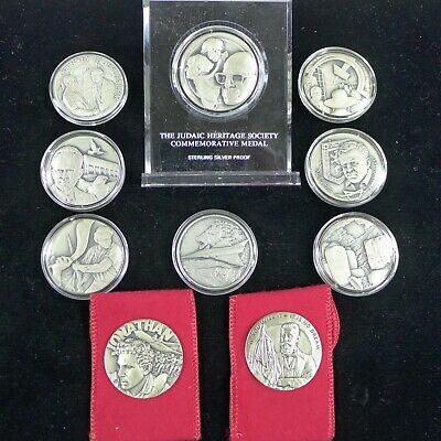 Lot of (10) AMI Sterling Silver Israel/Judaic Medals - slightly over 1 oz each