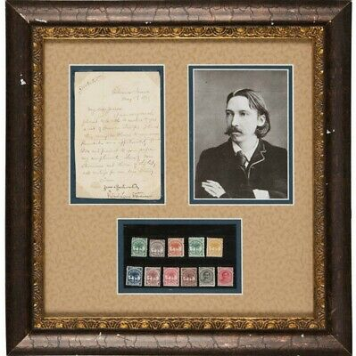 Robert Louis Stevenson Signed  Letter from Samoa 1893 with Gifted Samoan Stamps