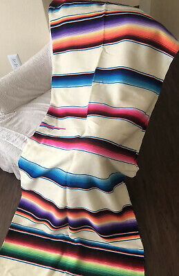 "Vtg Huge Rainbow Saltillo Serape Mexican Fringed Blanket Rug 85"" X 65"" Authentic"