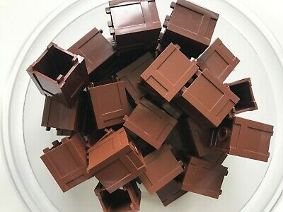 Lego- New-#61780-Reddish Brown-Container-B0X 2 X 2 X 2-Top Opening-10 Pieces