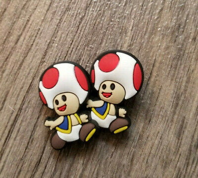 2  X  Red Toad Shoe Charm Pvc Rubber - Mario Bros