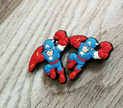 2  X  Red/Blue Capt America Crocs Shoe Charm Pvc Rubber - Super Heroe
