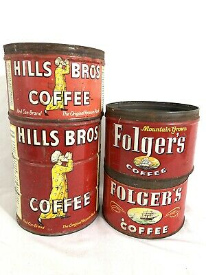 Early Lot of 4 Folger's  & Hills Bros Brothers Red Coffee Tin Cans 2 & 1 Lbs