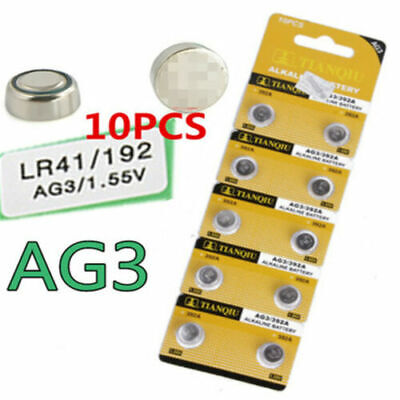 10PC Alkaline AG3 LR41 392 SR41 192 1.5V Button Coin Cells Watch Battery Sturdy-