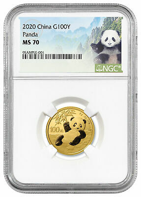 2020 China 8 g Gold Panda ¥100 Coin NGC MS70 White Core Holder Panda Label