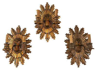 c1910 Trio of Gilded Wooden Twin Arm Wall Lights