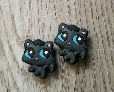 2  X  Black Cat Crocs Shoe Charm Pvc Rubber