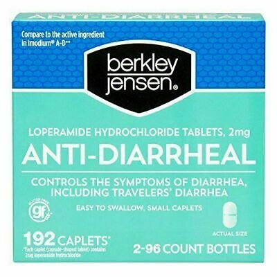 Berkley Jensen Anti-Diarrheal Hydrochloride Tablets 2mg 96 CAPLETS EA-4 BOTTLES)