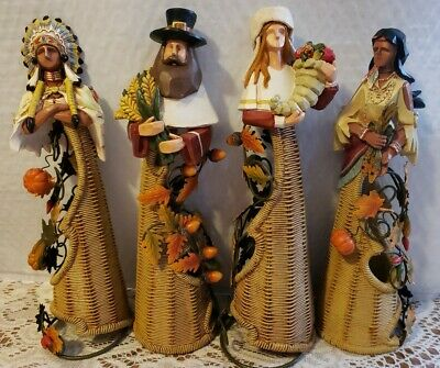 "lot of 4 thanksgiving pilgrim indian wicker figurines 10"" - 11"" tall each"