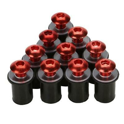 Pack of 10 motorcycle fairing screen well nuts RED 5mm 6 colours