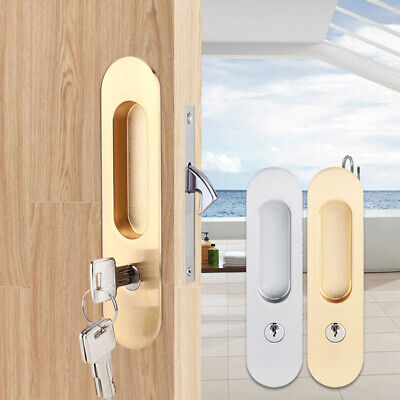 Sliding Door Lock Handle Anti-theft with Keys Barn Wood Furniture Double,