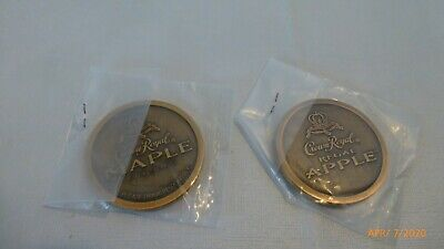 Crown Royal Regal Apple Maple Collector Coins Medallions Set of 2 Collectible