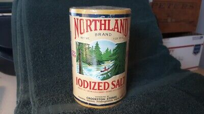 Northland Salt Can Canister Crookston Minnesota Indian Canoe King Flour Sack