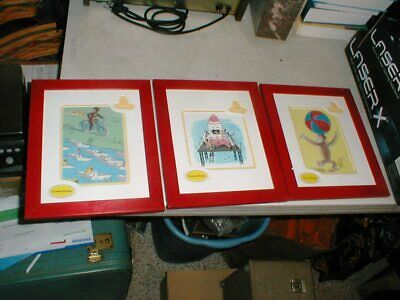 Lot-3 CURIOUS GEORGE Red Framed Matted Art Animation Prints by H. A. Rey
