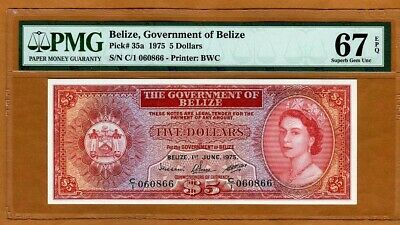 Belize, 5 Dollars, 1975, QEII, P-35a, PMG-67 EPQ, Superb Gem UNC