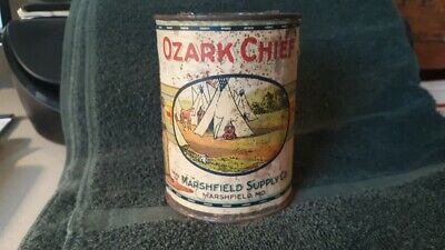 Ozark Chief Tomatoes Tin Can Paper Label Marshfield Missouri Supply Indian