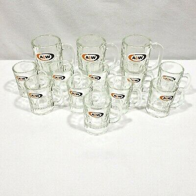 Vtg 1960's A&W Original Root Beer Heavy Glass Mugs (3 Kid, 10 Child/Baby Size)