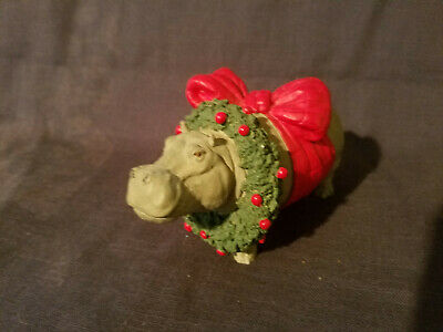 Christmas animals collection hippo with wreath