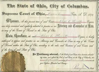 1870 State of Ohio City of Columbus Supreme Court Certificate To Practice Law