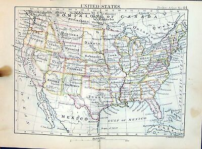 Old Bartholomew Map 1886 United States America Nebraska Iowa Nevada C Victorian