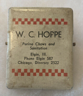 Elgin IL Illinois WC HOPPE Purina Chows Advertising Metal Clip Chicago Pet Food