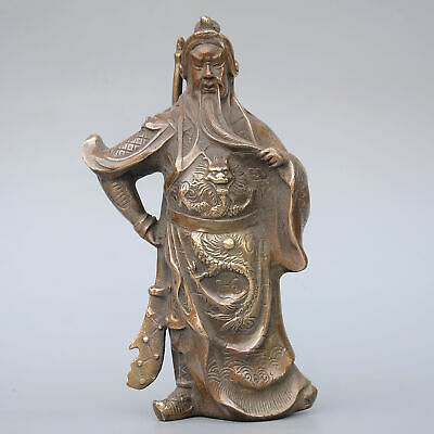 Collectable China Old Bronze Hand-Carve General Guan Yu Delicate Souvenir Statue
