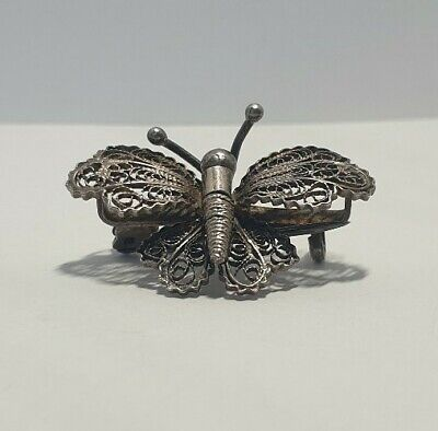 Vintage Solid Silver Italian made miniature Brooch Butterfly Rare  Hallmarked.