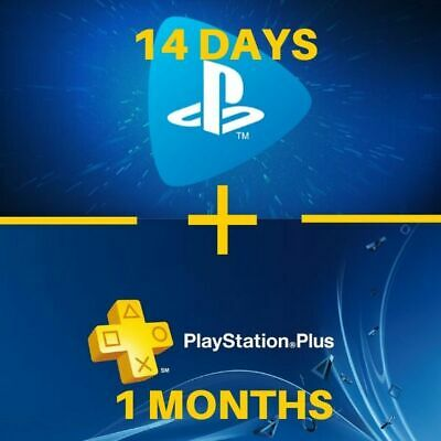 1 MONTHS PS PLUS + 14 DAYS PS NOW (NO CODE) PS4 Abonnement / Playstation PSN PS+