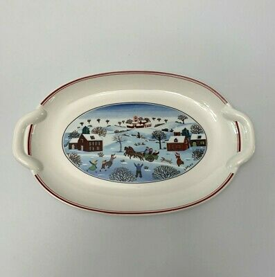 "Villeroy &  Boch Naif Christmas 10"" Oval Serving Dish"