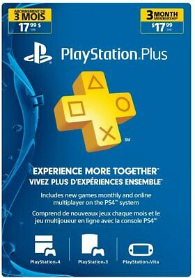 Sony Computer Entertainment PS Plus 3 Month Subscription Card [Online Play] NEW