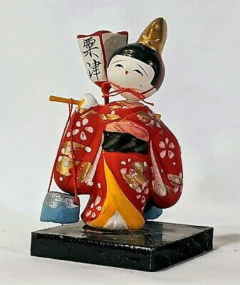Japanese Classic Vintage Wooden KOKESHI Doll with stand     017