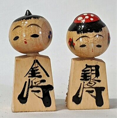 Japanese Vintage Wooden KOKESHI Two Doll     014