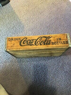Antique Coke Coca-Cola Wooden 24 Soda Pop Bottle Transport Carrying Crate 1939.