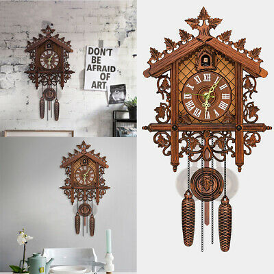 Handcraft Wood Cuckoo Clock House Style Wall Clock Art Vintage Home Room Decor